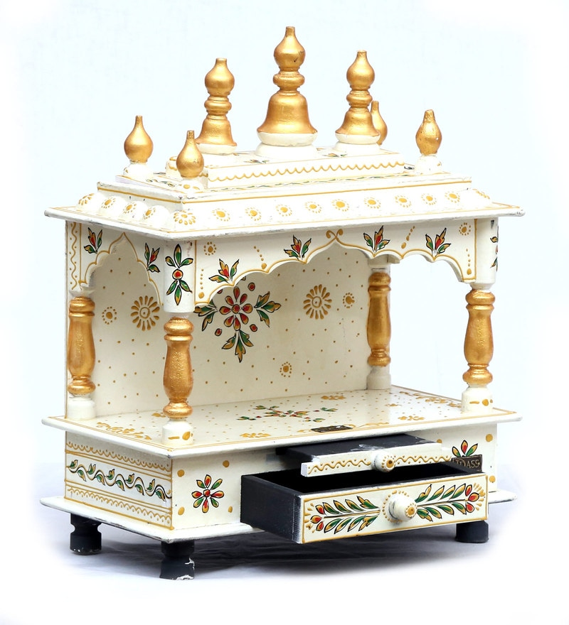 Buy Solid Wood Pooja Mandir for Home & Office in White & Red Colour ...