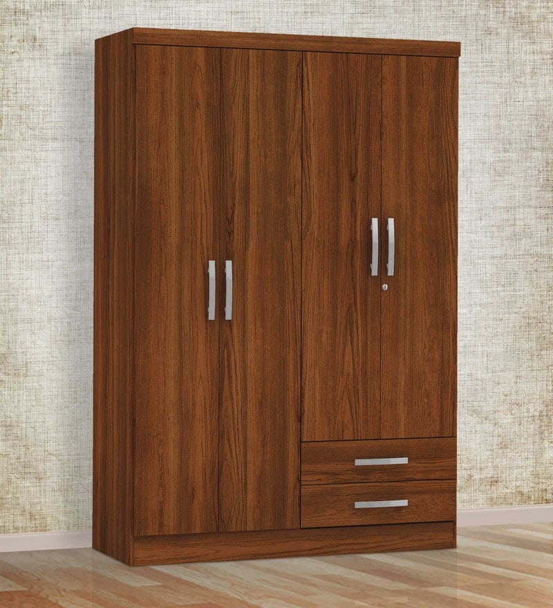Kimura Four Door Wardrobe in Teak Finish by Mintwud