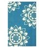 Sofiabrands Light Blue Wool 60 x 96 Inch Floral Carpet