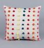 Multicolour Cotton 16 x 16 Inch Pompoms Cushion Cover by Solaj