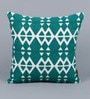 Solaj Teal Cotton 16 x 16 Inch Embroidery Cushion Cover