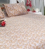 Soma Browns Nature & Florals Cotton King Size Bed Sheets - Set of 3