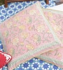 Soma Pink Cotton 20 x 20 Inch Handblock Cushion Covers Combo - Set of 2