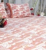 Soma Pinks Nature & Florals Cotton King Size Bed Sheets - Set of 3