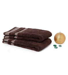 Spaces Chocolate 100% Cotton 16 X 24 Inch Hygro Hand Towel - Set Of 2