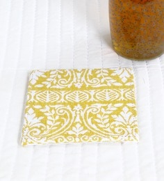 Spiral Kitchen Block Print Yellow Canvas Table Coaster - Set Of 6