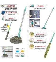 Spotzero Zero Dust Broom With Mop & Floor Scrubber - Set Of 3