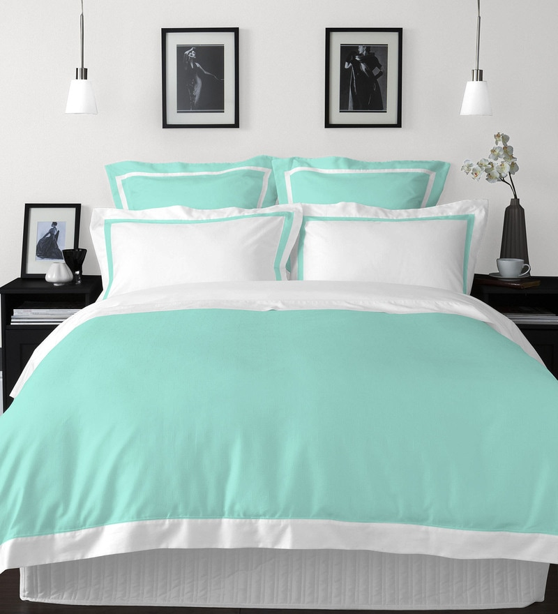 Aqua 100% Cotton Hygro King Bed Sheet Set by Spaces
