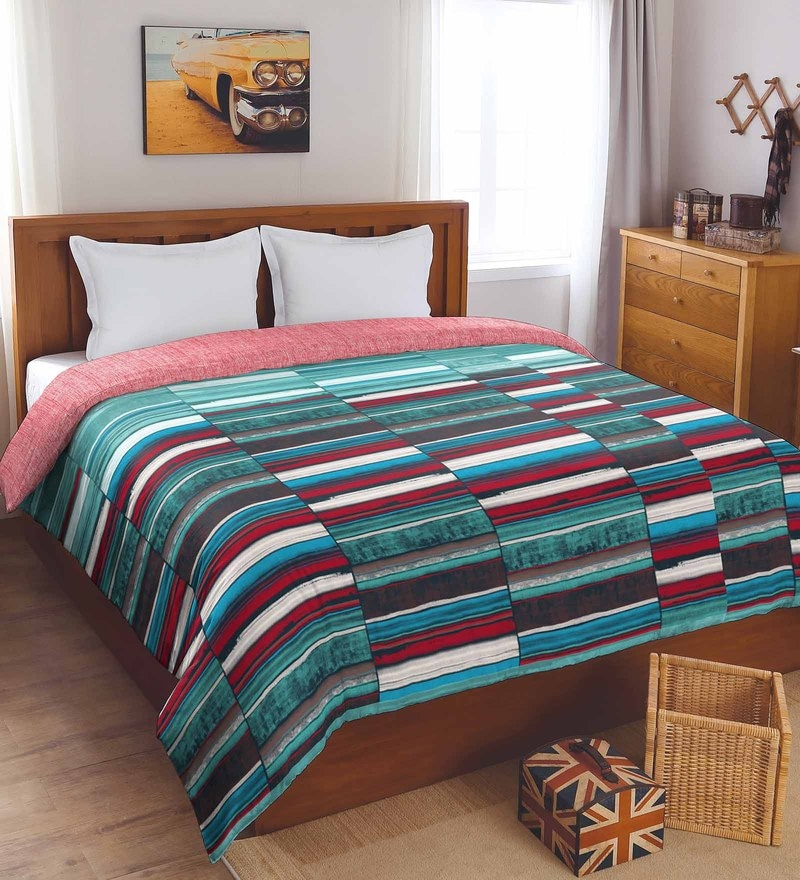 Aqua Cotton And Polyester 88 x 106 Inch Bohochic Double Comforter by Spaces
