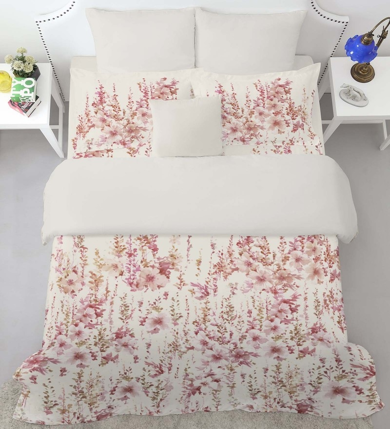 Beige 100% Cotton Courtyard King Bed Sheet Set by Spaces