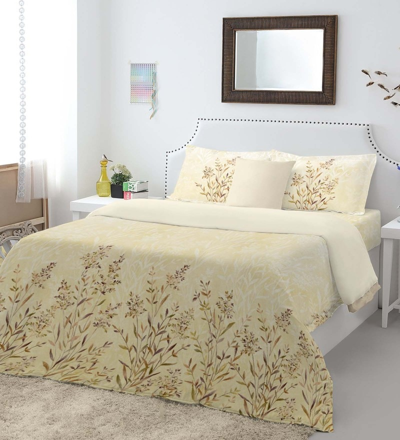 Beige 100% Cotton Intensity King Bed Sheet Set by Spaces