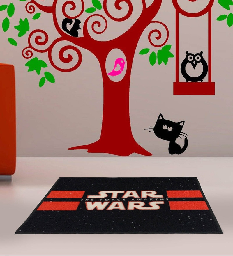 Black 100% Cotton 16 x 24 Inch Starwars Bath Mat by Spaces