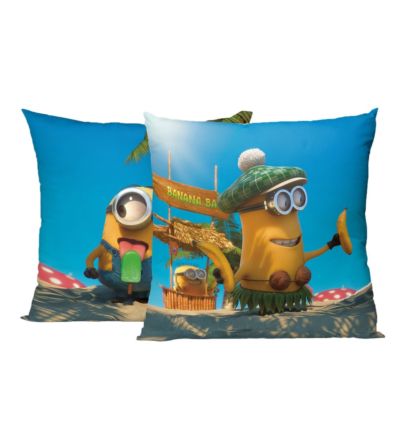 Spaces Blue 100% Cotton 16 x 16 Inch Universal Minions Cushion Cover Set Of 1