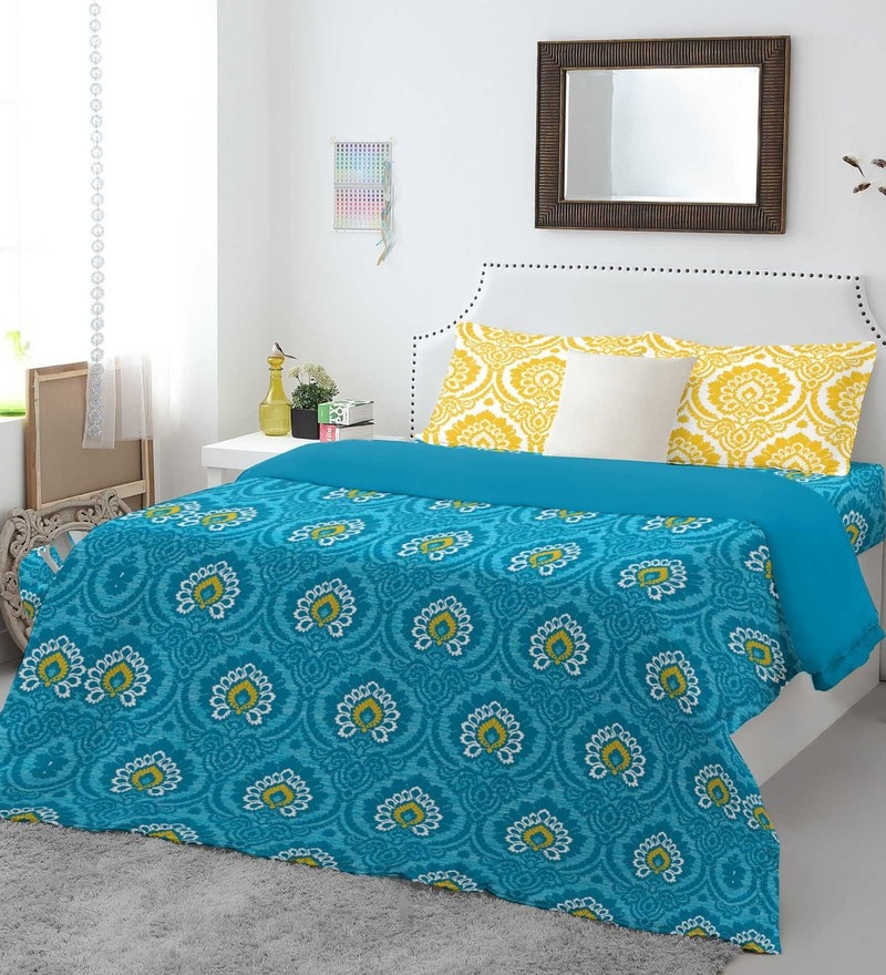 Blue 100% Cotton Allure Bed Sheet Set by Spaces