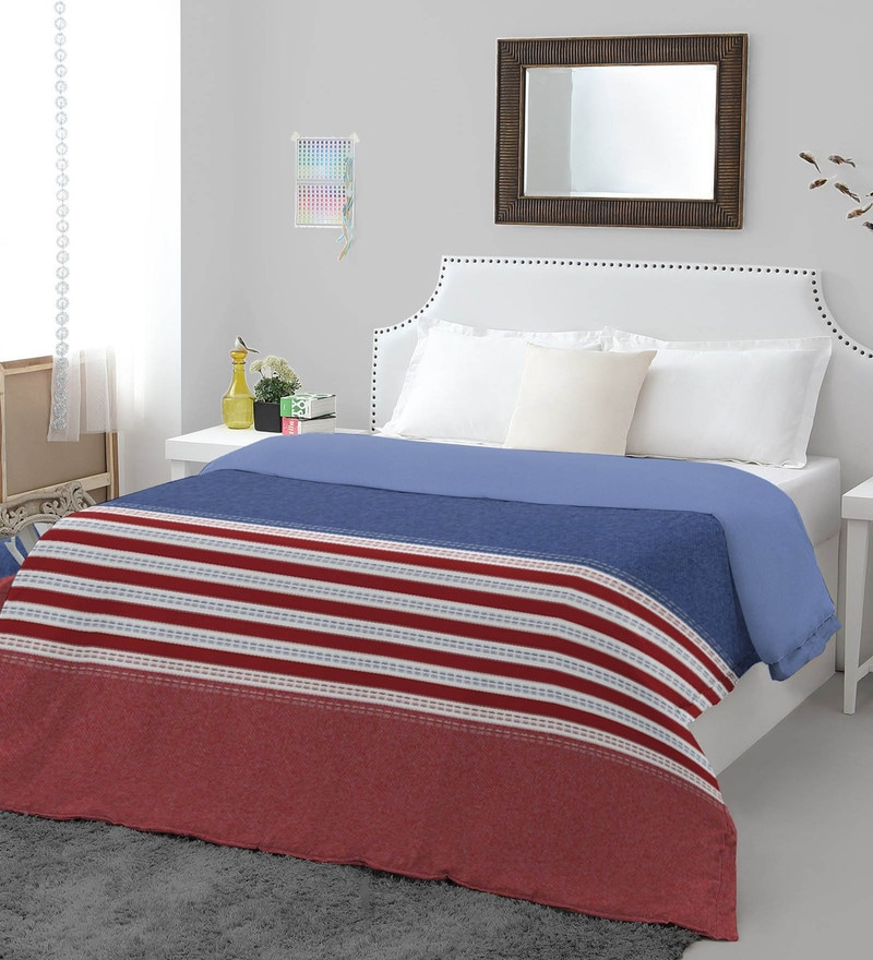 Spaces Blue Cotton And Polyester 60 x 42.5 Inch Youthopia Double Duvet Cover