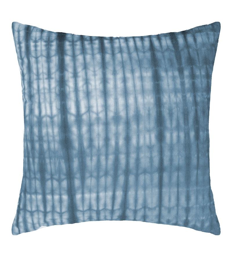 Spaces Blue Ink 100% Cotton 16 x 16 Inch Spun Syahi Cushion Cover