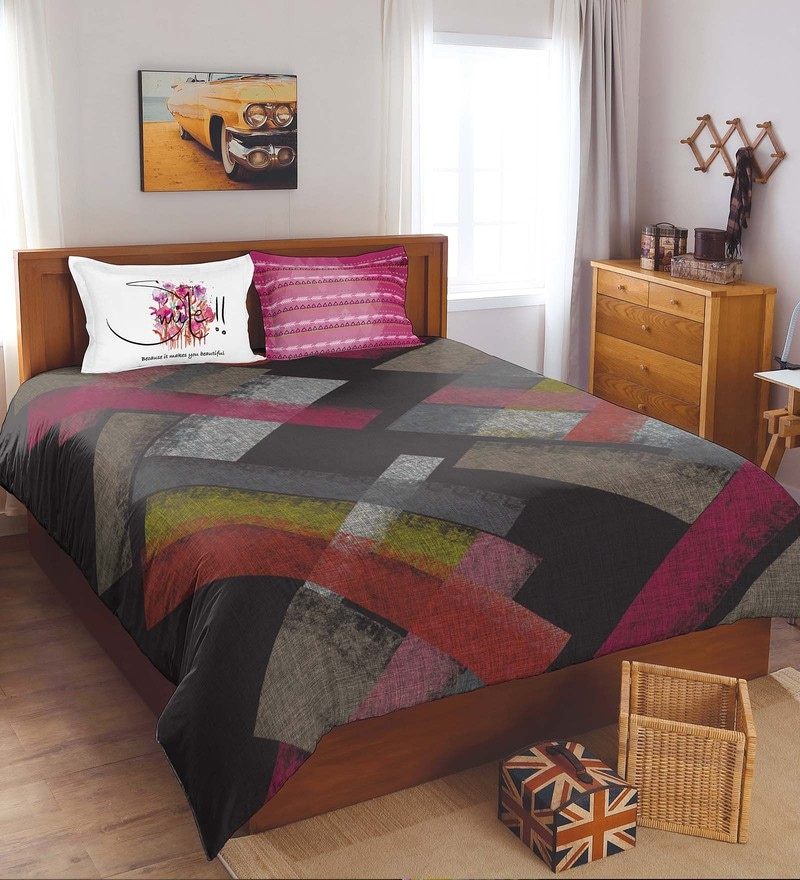 Multicolour 100% Cotton Youthopia King Bed Sheet Set by Spaces