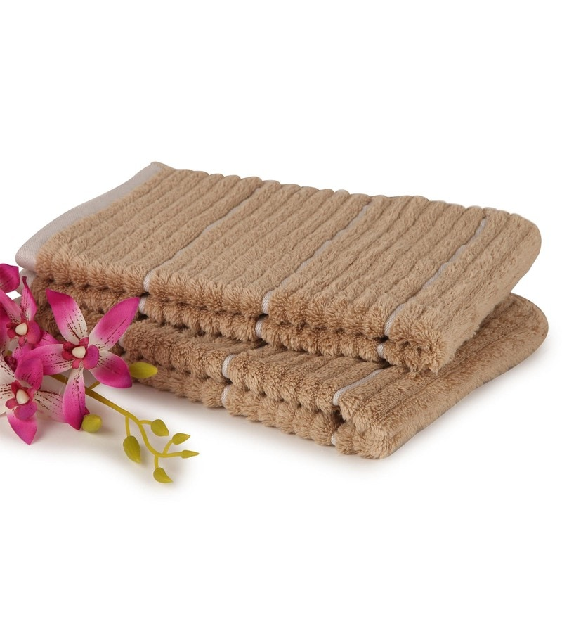 Camel And Ivory 100% Cotton 16 x 24 Inch Exotica Towels - Set of 2 by Spaces