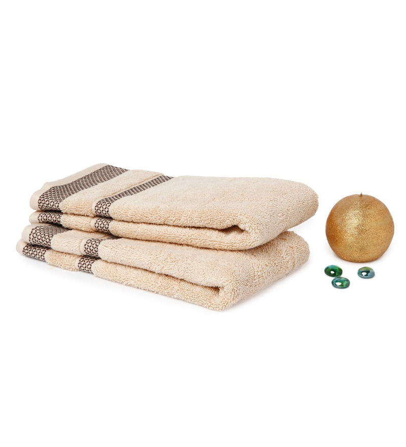 Spaces Cream 100% Cotton 16 x 24 Inch Hygro Hand Towel - Set of 2