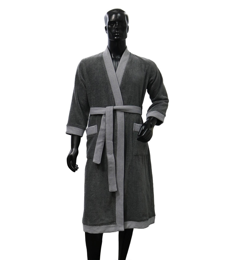 Spaces Grey 100% Cotton Hygro Extra Large Bathrobe