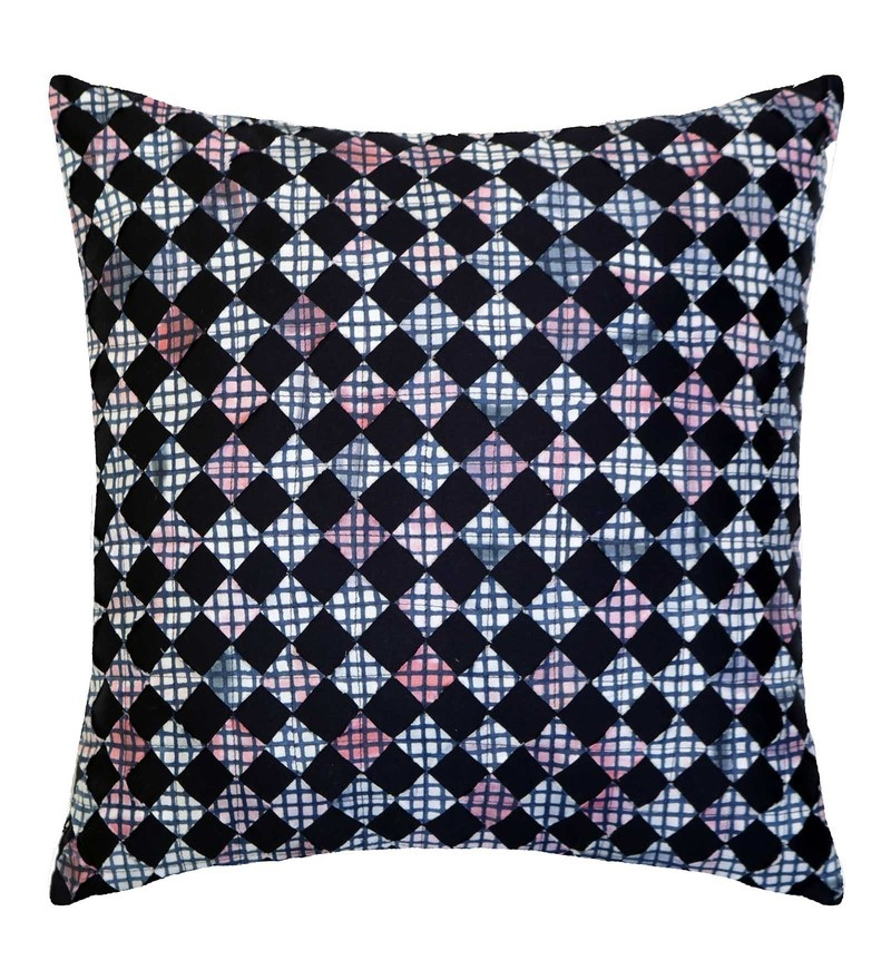 Spaces Indigo 100% Cotton 16 x 16 Inch Spun Syahi Cushion Cover