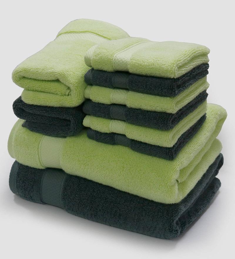 Spaces Lime And Charcoal 100% Cotton Atrium Plus Towel Set - Set of 10