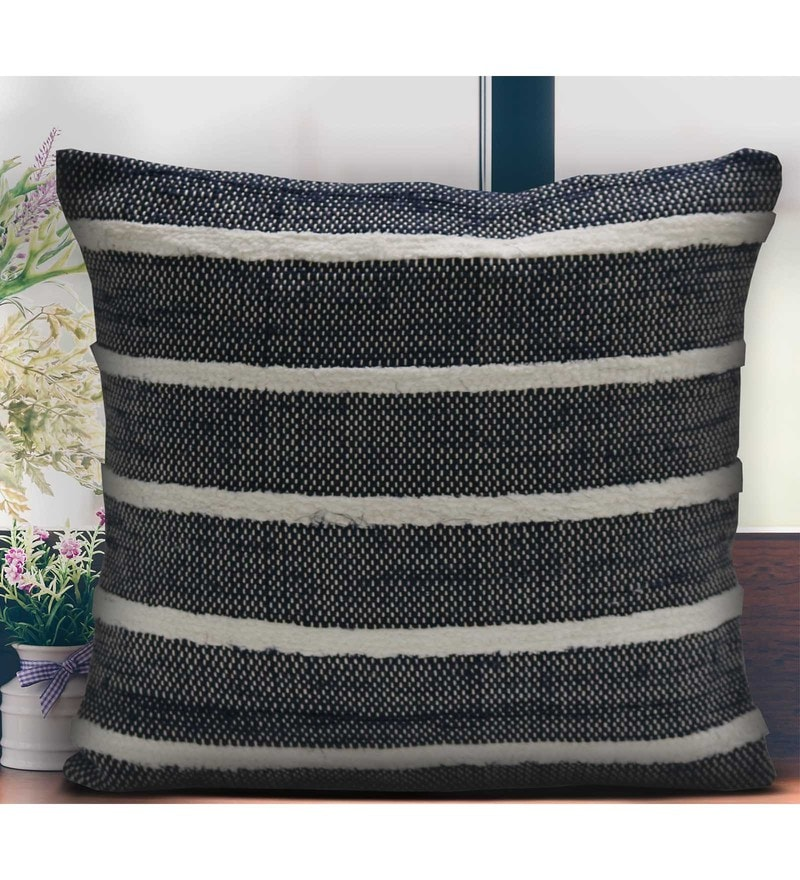 Navy 100% Cotton 16 x 16 Inch Spun Cushion Cover by Spaces