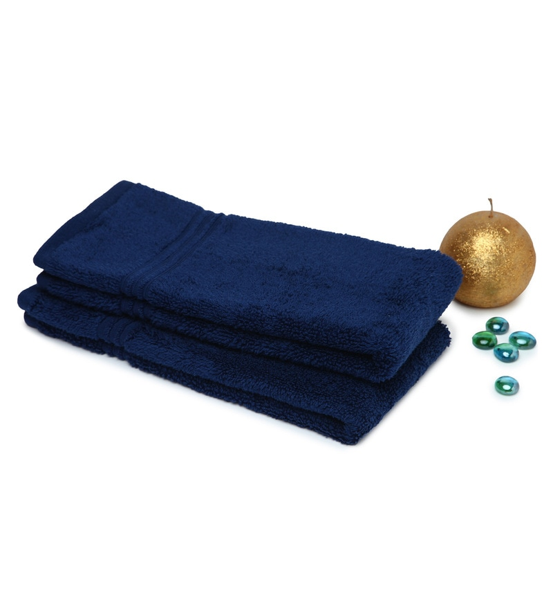 Spaces Navy Blue 100% Cotton 16 x 24 Inch Swift Dry Hand Towel - Set of 2