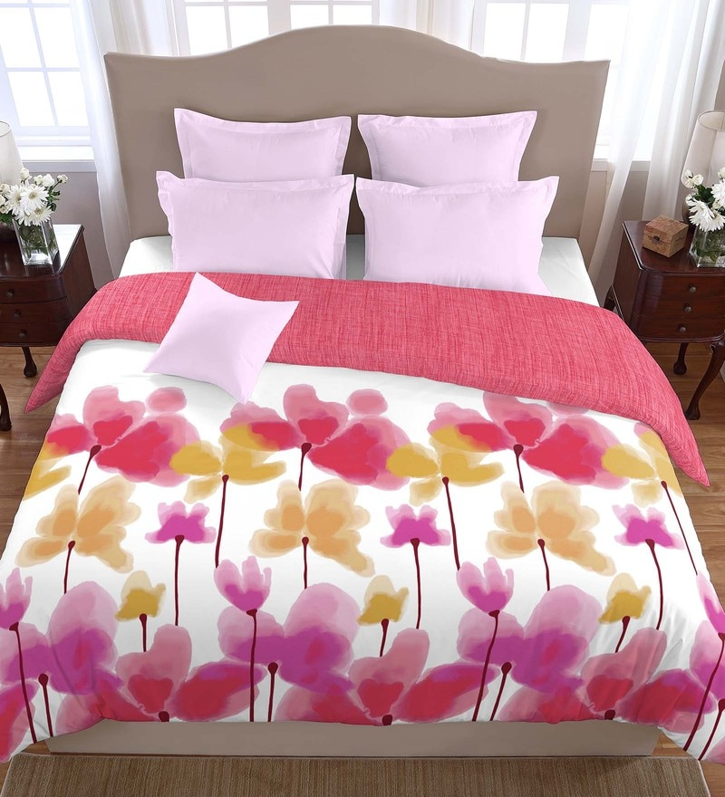 Pink 100% Cotton 88 x 106 Inch Courtyard Double Comforter by Spaces