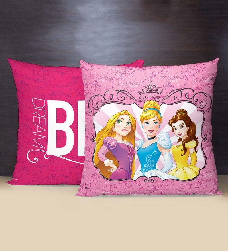 Pink Polyester 16 x 16 Inch Disney Cushion Cover by Spaces