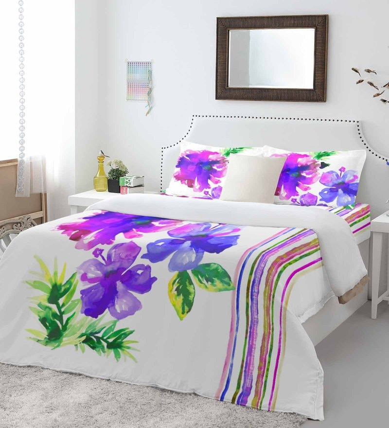 Purple 100% Cotton Intensity King Bed Sheet Set by Spaces