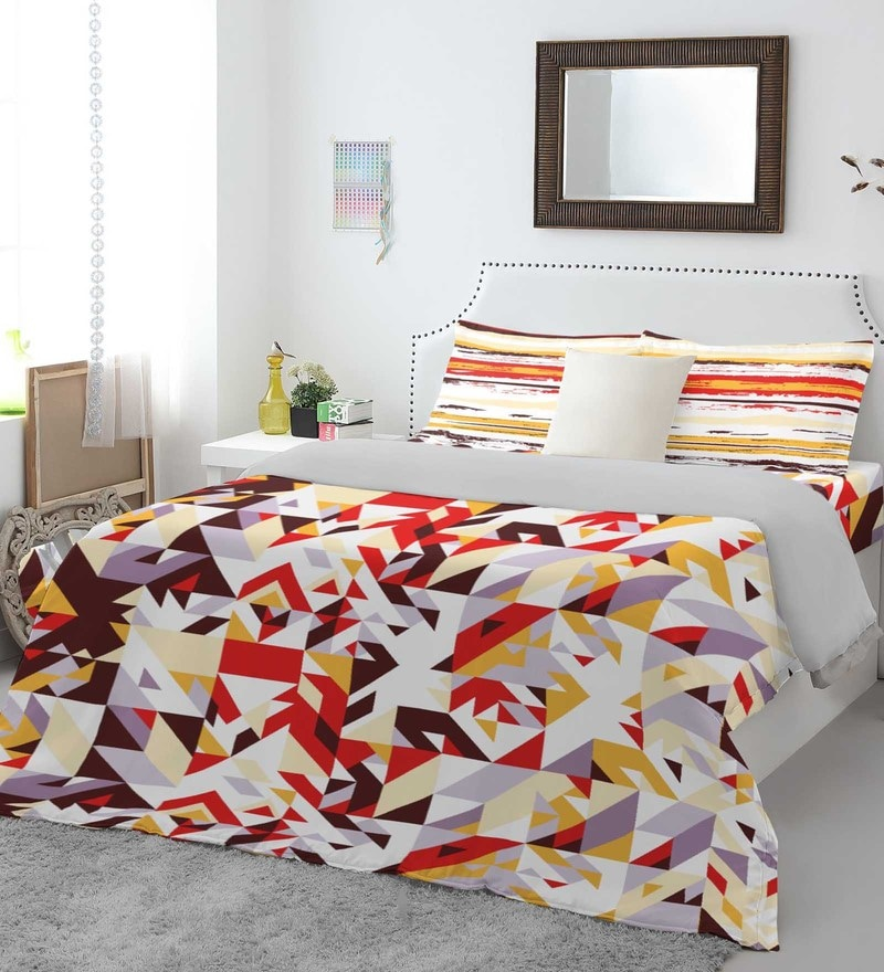 Red 100% Cotton Allure Bed Sheet Set by Spaces