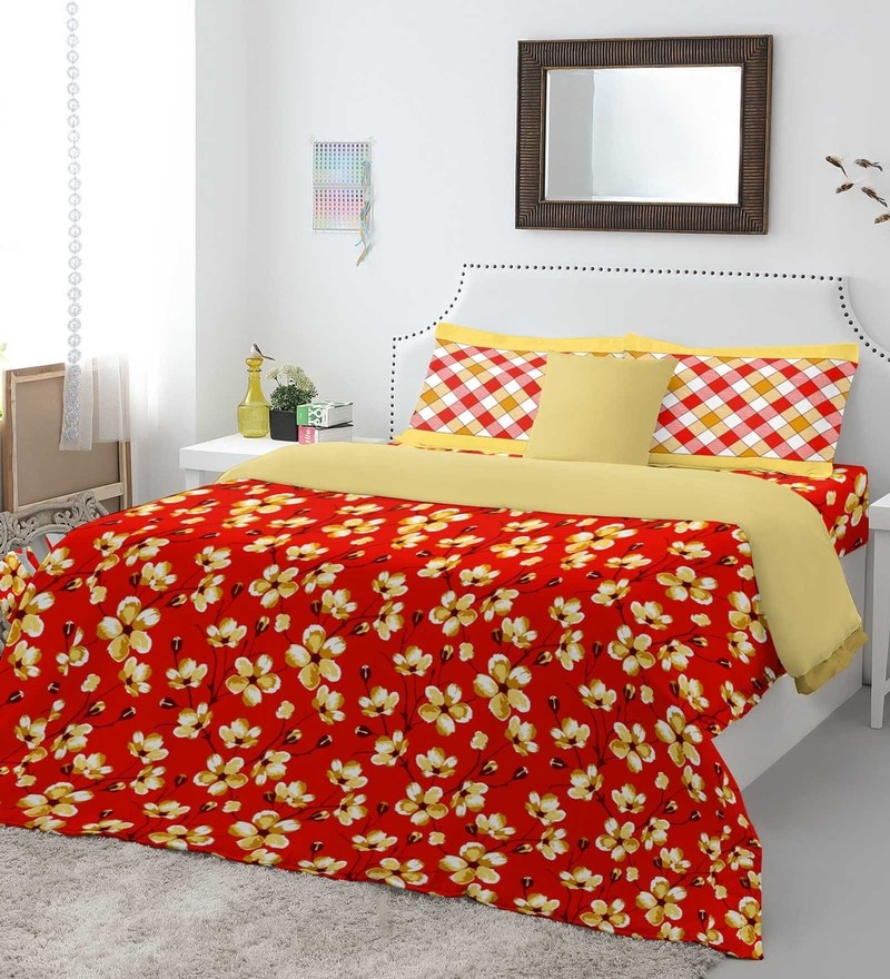 Red 100% Cotton Allure King Bed Sheet Set by Spaces