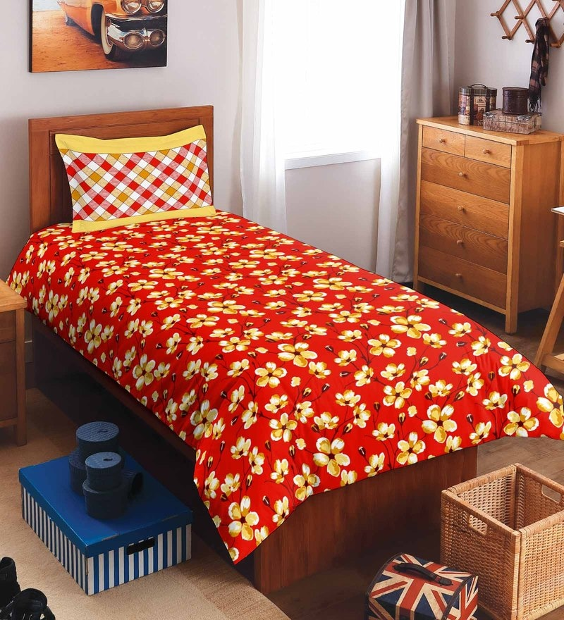 Red 100% Cotton Allure Single Bed Sheet Set by Spaces
