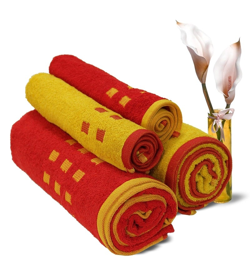 Spaces Red And Gold 100% Cotton Atrium Towel Set - Set of 4