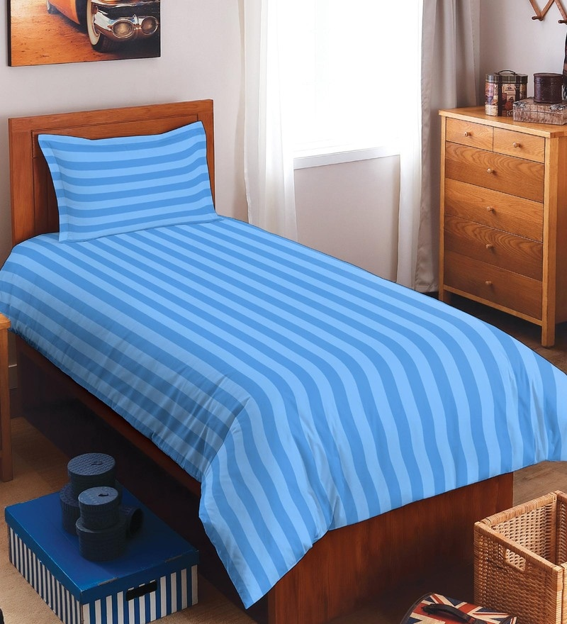Spaces Sky Blue 100% Cotton Sky Rise Single Bed Sheet With 1 Pillow Cover