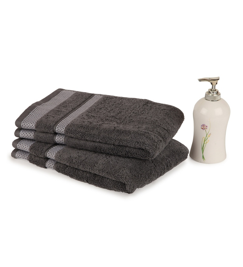 Spaces Stone 100% Cotton 16 x 24 Inch Hygro Hand Towel - Set of 2