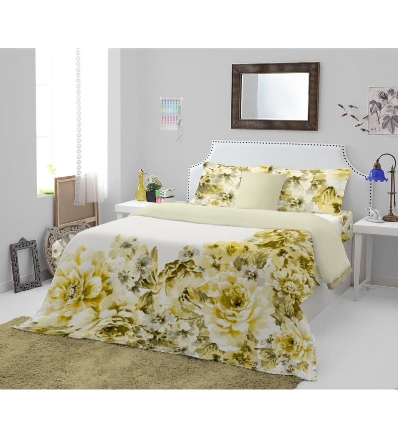 Yellow 100 % Cotton King Size Courtyard Bedsheet - Set of 3 by Spaces