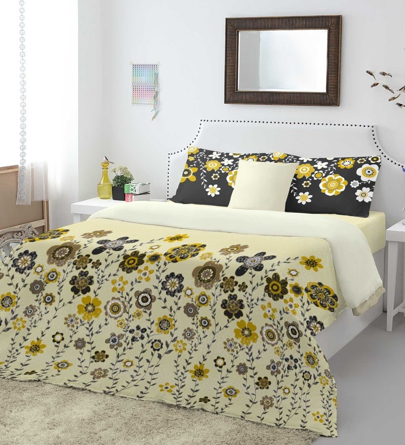 Yellow 100% Cotton Intensity King Bed Sheet Set by Spaces