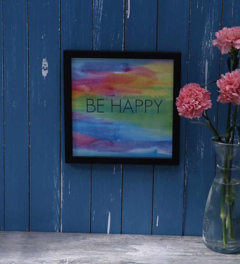 Wood & Acrylic 8 x 8 Inch Be Happy Framed Poster by Speaking Frame