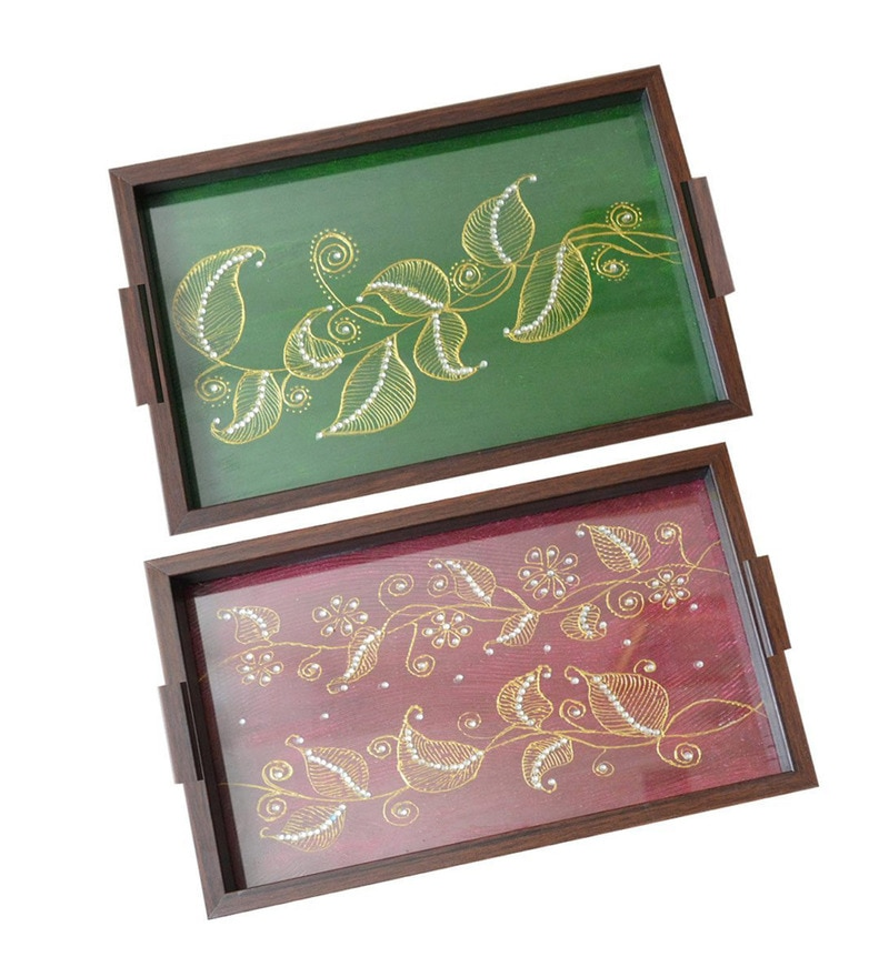 Spectrahut Designer Red & Green Acrylic Serving Trays - Set of 2