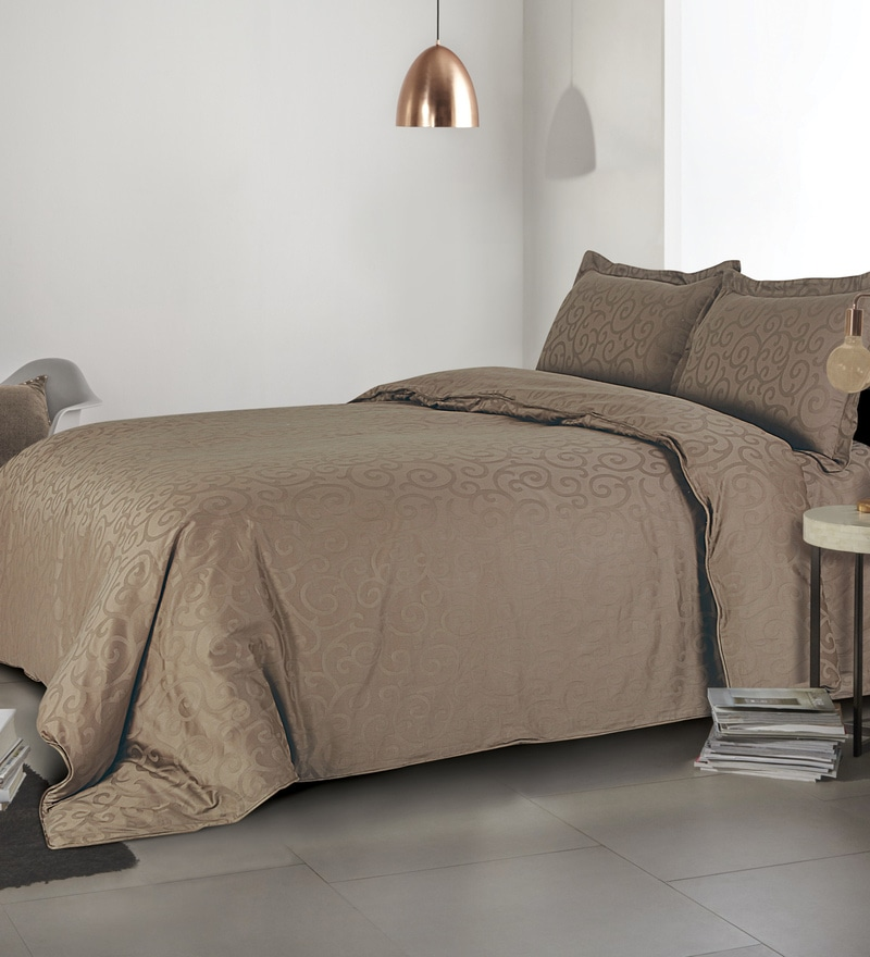 Brown 100% Cotton Single Size Duvet Cover by Spread