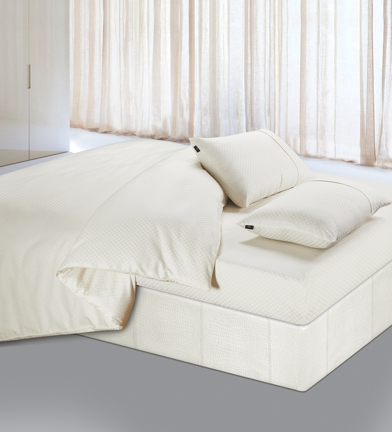 Cream 100% Cotton Double Size Duvet Cover by Spread