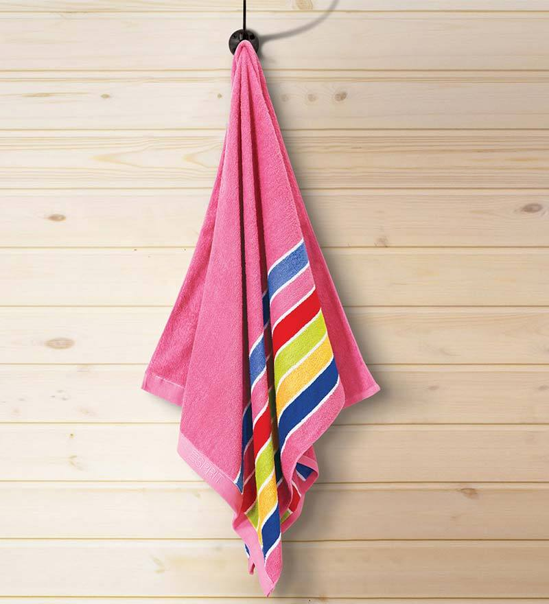 Bright Pink Cotton Hand Towel by ESPRIT