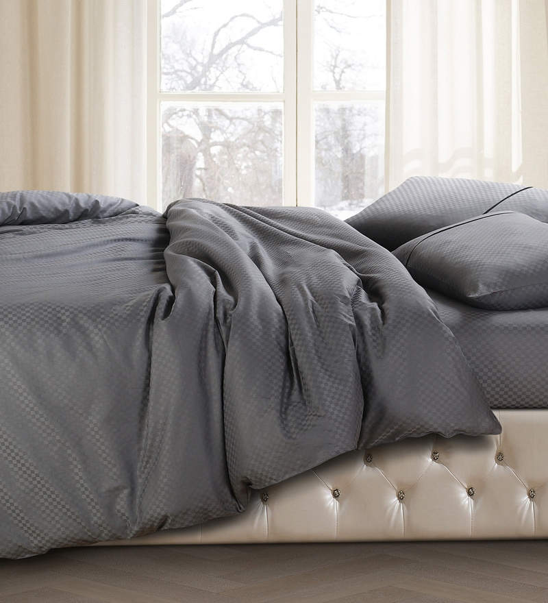 Grey 100% Cotton Double Size Duvet Cover by Spread