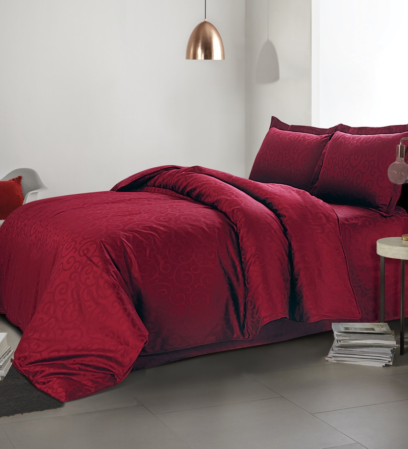 Maroon 100% Cotton Single Size Duvet Cover by Spread