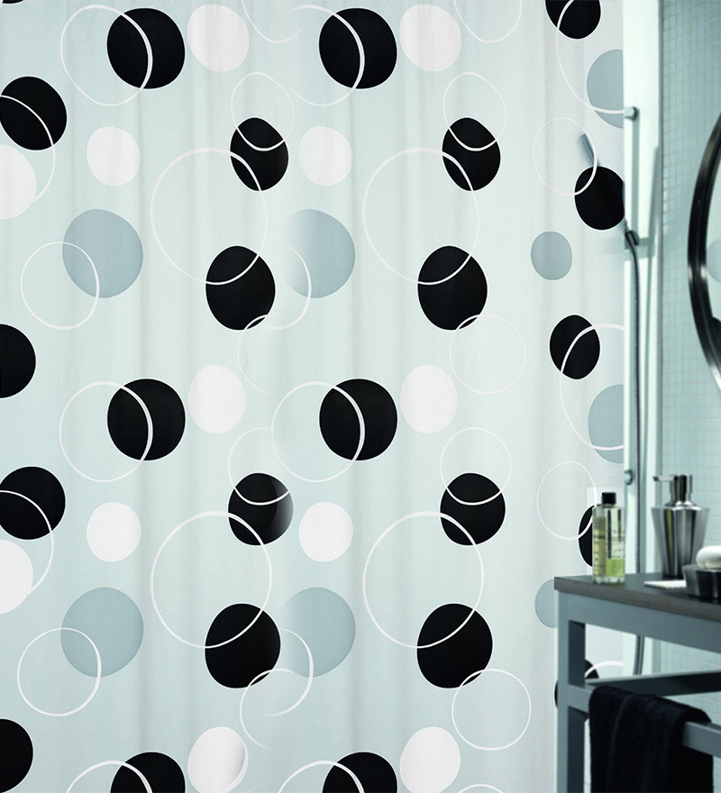 Bubble Black Peva Shower Curtain by Spirella