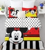 SPACES Disney Mickey Red Double Bedsheet with 2 Pillow Covers
