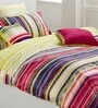 Esprit Home Stripes Blue 100% Cotton Abstract Single Bed Sheet (with Pillow Covers) - Set of 2