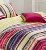 Stripes Multicolour 100% Cotton Abstract Single Bed Sheet (with Pillow Covers) - Set of 2 by Esprit Home